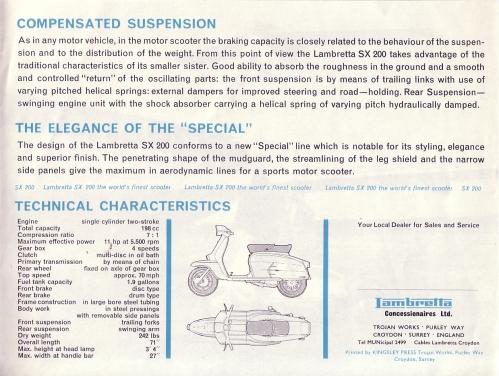 Lambretta SX 200 brochure page 3